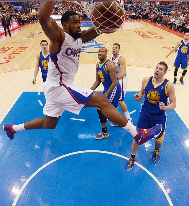 DeAndre Jordan of the Los Angeles Clippers finishes a flush against the Golden State Warriors in Game 7 of their opening-round playoff series.