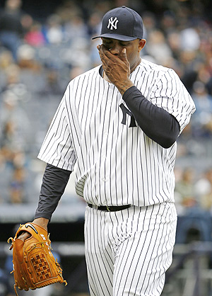 CC Sabathia couldn't hide his disappointment after he gave up five earned runs in 3 2/3 innings to the Rays.