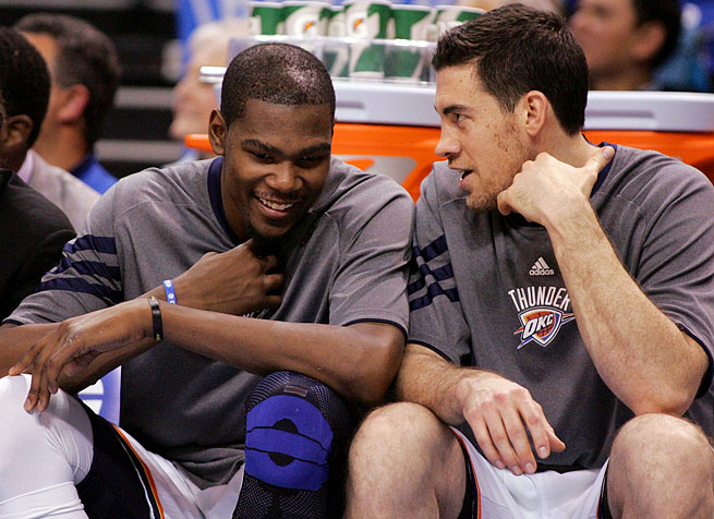 Kevin Durant and Nick Collison have been teammates since 2007-08, the team's last season in Seattle.