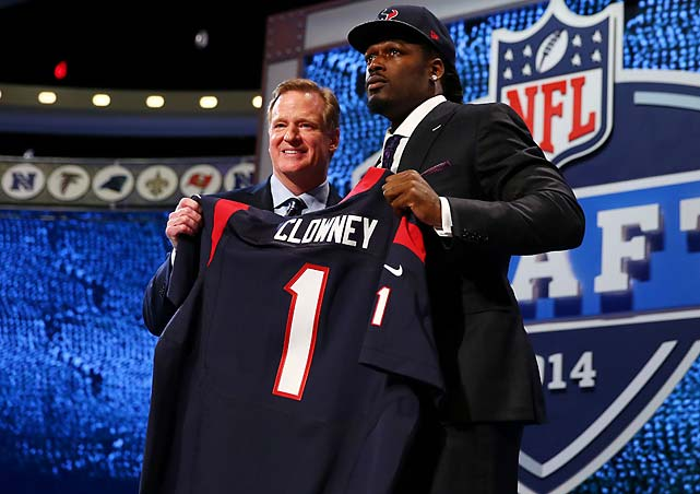A teary-eyed Jadeveon Clowney with commissioner Roger Goodell after the Houston Texans made the South Carolina defender the first pick in the NFL draft.