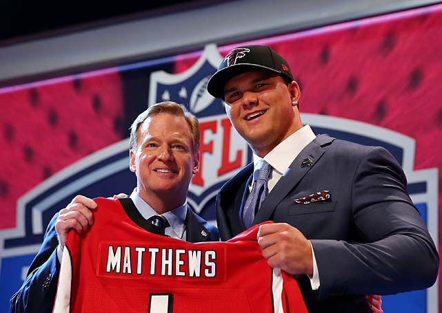 Jake Matthews of the Texas A&M Aggies poses after he was picked No. 6 by the Atlanta Falcons.