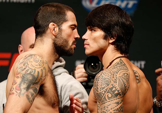 Matt Brown, left, and Erick Silva will go at it on Saturday in Brown's home state, Ohio.
