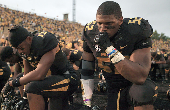 Michael Sam goes from the University of Missouri to the St. Louis Rams via the 249th overall pick.