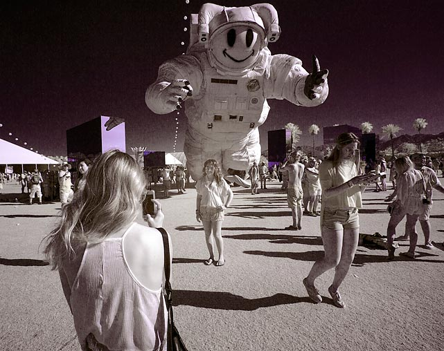 Shot in infrared, the Becoming Human art installation by Christian Ristow loomed large over the big event in Indio, California.