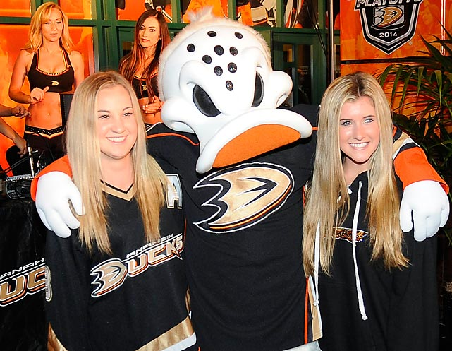 Fowl doings before a Kings-Ducks playoff game in exciting Anaheim, California.