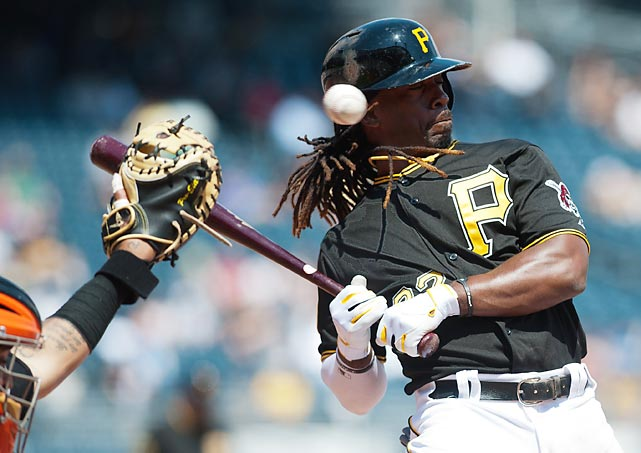 Pittsburgh Pirates centerfielder Andrew McCutchen avoids a tight pitch thrown by Juan Guitierrez of the San Francisco Giants.