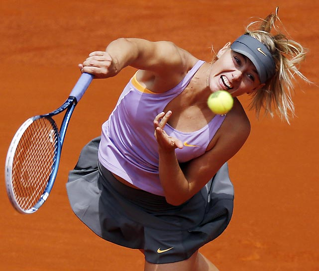 Maria Sharapova delivers a serve against Christina McHalea at the Madrid Open.