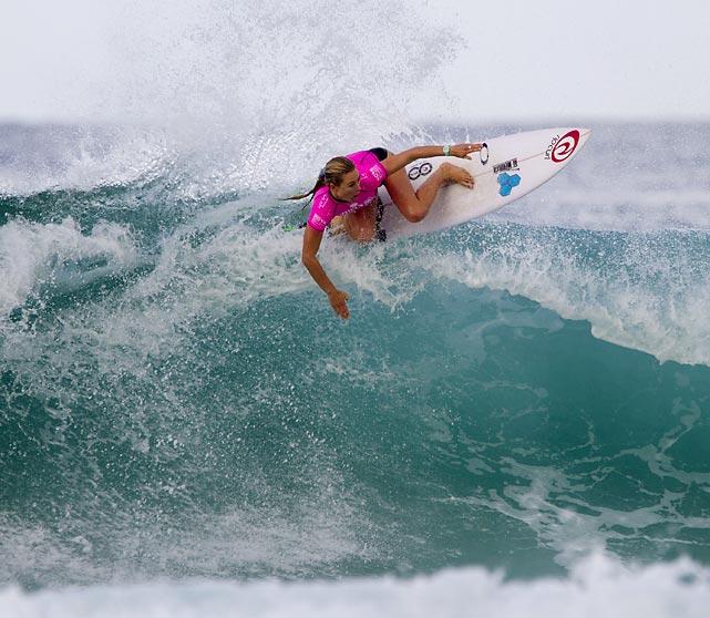 Nikki Van Dijk of Australia catches a wave at the Billabong Rio Pro in Rio de Janeiro, Brazil.