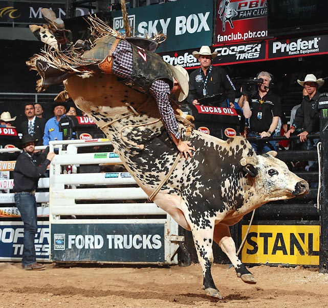 Joseph McConnell attempts to ride Air Time -- a bull that has been successfully ridden just once in BFTS competition -- at the Las Vegas Last Cowboy Standing Built Ford Tough series PBR.