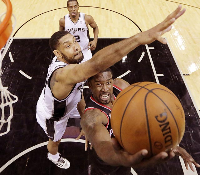 Portland Trail Blazers guard Wesley Matthews eludes Tim Duncan of the San Antonio Spurs in Game 1 of their Western Conference semifinal.