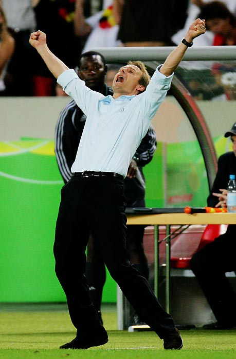 Klinsmann rejoices after Germany won the third-place match against Portugal at the 2006 World Cup. Klinsmann went 20-8-6 in 34 matches as manager.