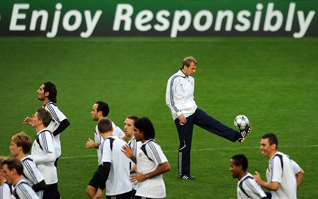 Bayern Munich and Klinsmann warm up the day of a Champions League match against Sporting Lisbon in 2009. Klinsmann would manage Bayern for just one season, and was sacked with five games left with his team just three points out of first. Bayern management was also unhappy with early exits in the Champions League and DFB-Pokal tournaments.