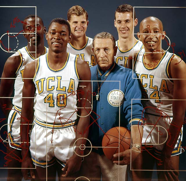 UCLA coach John Wooden poses with Bruins (from left) Kenny Washington, Fred Goss, Mike Lynn, Vaughn Hoffman and Edgar Lacey. UCLA won its first national championship in 1964, completing a 30-0 season with a 93-83 victory over Duke in the final.