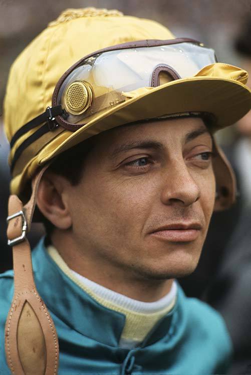 A closeup of Bill Hartack, the jockey for Northern Dancer, before the Belmont Stakes. Northern Dancer, winner of 1964's Kentucky Derby and Preakness Stakes, would fail to capture the Triple Crown, finishing third.