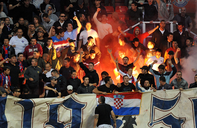 The raucous Bosnian-based Hajduk Split fans face a split of their own: Support Bosnia-Herzegovina or Croatia?