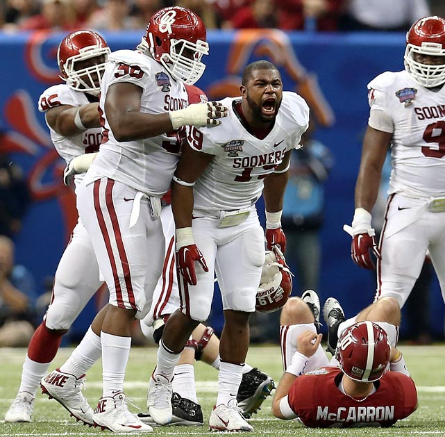 A three-sack performance versus Cyrus Kouandjio and Alabama in last season's Sugar Bowl should propel Striker into 2014 nicely. He finished the year with 6.5 total sacks, all of them coming in the back half of the schedule. Oklahoma has been putting the speedy Striker through some drills as a nickel back, possibly adding another dimension to his game.