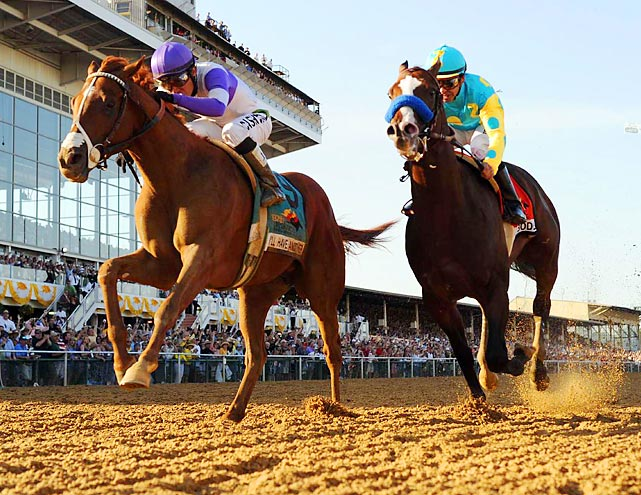 Bodemeister, the runnerup at the Kentucky Derby, was the early line favorite over Kentucky Derby winner I'll Have Another. But just like in the Derby, I'll Have Another (left) outran Bodemeister (right) for the victory.
