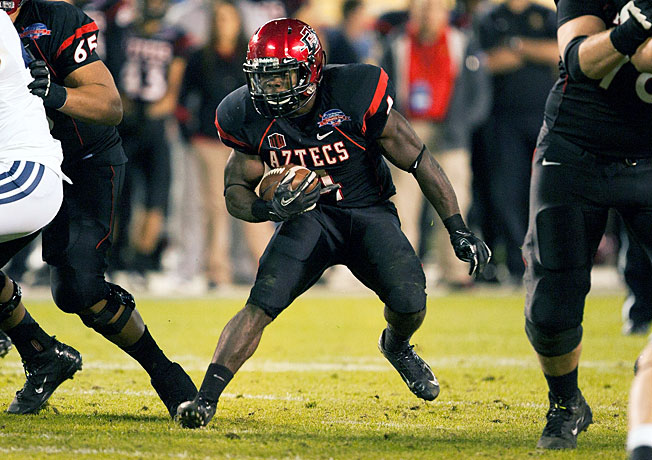 Adam Muema rushed for 2,955 yards in his three-year San Diego State career, fourth in program history.