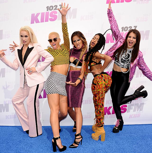 Speakin' of ball girls. Lauren Bennett, Paula Van Oppen, Emmalyn Estrada, Simone Battle and Natasha Slayton kicked up a ruckus at 102.7 KIIS FM's 2014 Wango Tango at StubHub Center in LA.