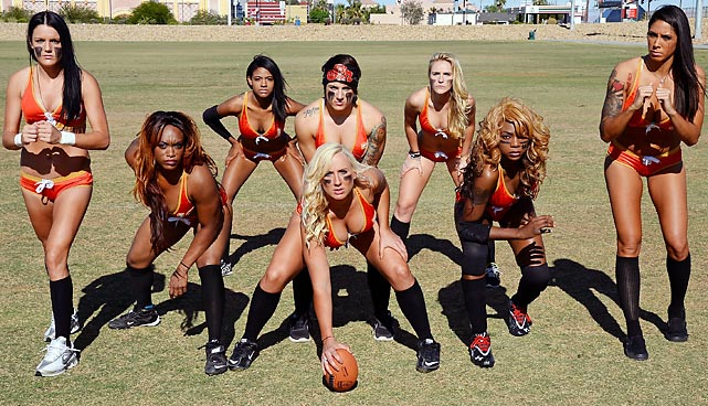 Legends Football League media days can give the Super Bowl variety a run for its money. Here we have (l<italics>eft to right</italics>) Ashley Brasil, Tiffiany Howard, RaeDeen Callaway, Danika Brace (center), Sindy Cummings, Kelly Campbell, LaRonda Kelly and La Chelle Foreman setting up in a T&A formation at Charlie Frias Park in Las Vegas.