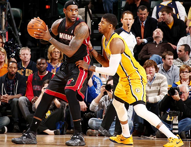 LeBron James (left) and Paul George will square off in the East finals for the second year in a row.