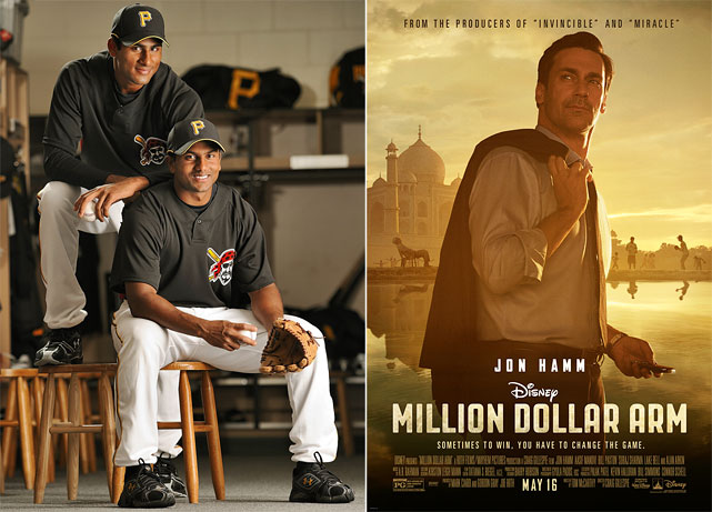 "Opening nationwide today (May 16), <italics>Million Dollar Arm</italics> stars notorious Cardinals fan Jon Hamm. The movie tells the mostly true story of ""The Million Dollar Arm,"" a 2008 Indian reality show started by sports agent J.B. Bernstein (played by Hamm), that tried to find the person in India who could best throw a baseball. The winners, Rinku Singh (left) and Dinesh Patel, famously received a cash grand prize and then came to America, where they were trained at USC and eventually both signed minor league contracts with the Pirates. And for Singh, at least, the story is not over. He missed last season to injury, but has solid career minor league stats, despite being a little old for his leagues. One has to figure a lefty reliever with good peripherals has better than no chance at the majors. Here's a look at Major League Baseball's players, managers and owners portrayed on the big screen through the years. SI Now: Jon Hamm on ""Million Dollar Arm"""