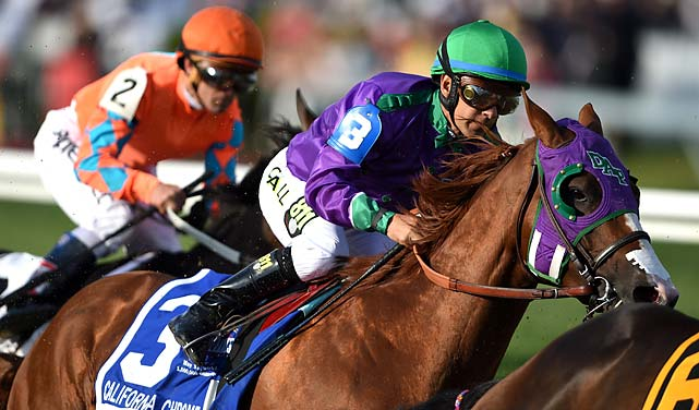 California Chrome defeated Ride On Curlin by 1½ lengths at Pimlico, covering 1 3/16 miles in 1:54.84.