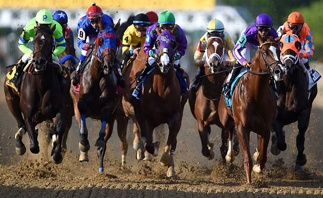 California Chrome bounced out of the gate running, with jockey Victor Espinoza moving the colt into the clear. Pablo Del Monte, a 34-1 shot, charged to the lead and was soon joined by filly Ria Antonia.