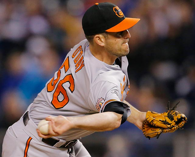 Baltimore Orioles reliever Darren O'Day unwinds a pitch against the Kansas City Royals.