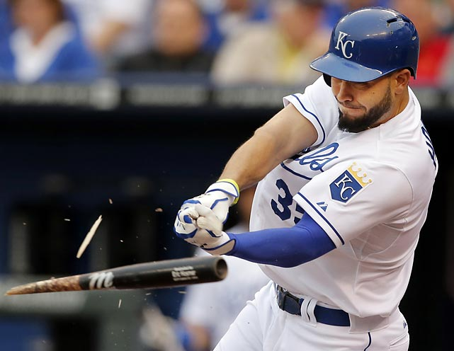 Kansas City Royals first baseman Eric Hosmer shatters his bat against the Baltimore Orioles.
