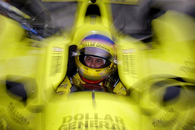 Jacques Villeneuve of Canada awaits the start of a practice run following a rain delay at the Indianapolis 500 qualifying.