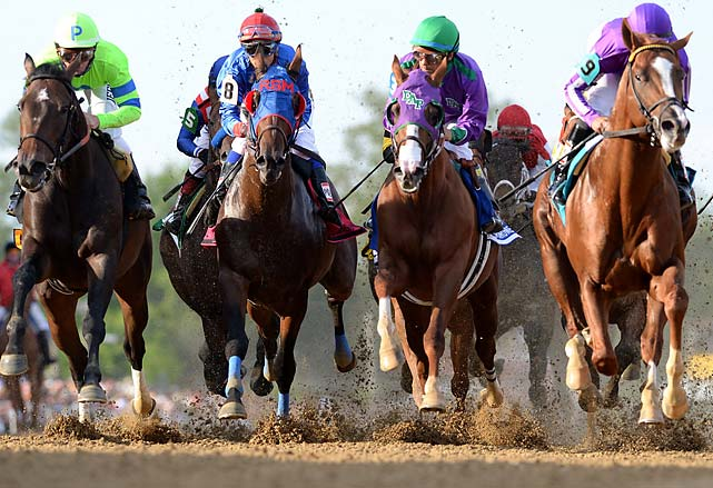 California Chrome (third fron left) battles the pack at the Preakness.
