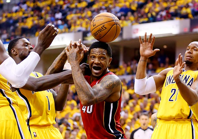 Udonis Haslem of the Miami Heat loses the ball against the Indiana Pacers during Game 1 of the Eastern Conference Finals.