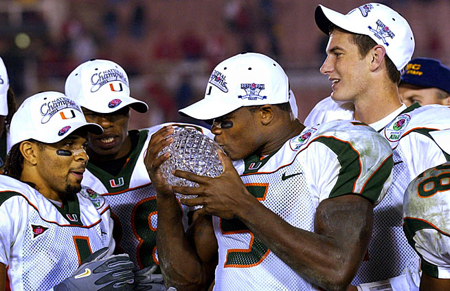 Miami wide receiver Andre Johnson kisses the crystal ball after the Hurricanes won the 2002 Rose Bowl.