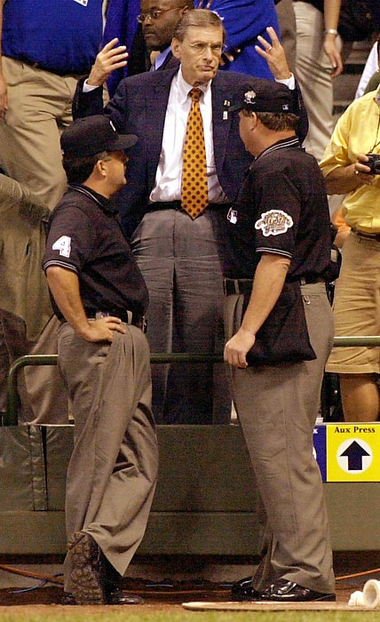 Fans could say baseball Commissioner Bud Selig (pictured) overreacted just a bit when a disappearance of pitchers caused the 2002 All-Star Game in his hometown of Milwaukee to end in a tie. Instead of simply increasing All-Star rosters to ensure future games would be played to conclusion, Selig ruled that the winning league in all subsequent Midsummer Classics would gain home-field advantage for the World Series. In other words, a glorified exhibition would decide which league champion would host potential Games 6 and 7 in baseball's signature event. No visiting team has won a World Series Game 7 since 1979, so this is a major advantage. Critics said Selig was seeking to help Fox draw more eyeballs to the All-Star Game. Selig argued he wanted to restore the luster to a game that had once been appointment television for millions of baseball fans. Yet All-Star Game TV ratings -- and World Series viewership -- have fallen far below what they were before Selig's decision.