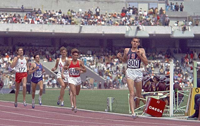 Mexico City sits at 7,300-foot altitude, thin air that contains only one-third of the oxygen at sea level. Olympic officials assured critics that the altitude would have little effect on athletes. But what turned into world-record conditions for sprinters such as Jim Hines, Tommie Smith and Lee Evans and for long jumper Bob Beamon became a nightmare for athletes competing in endurance events. Altitude-bred runners from Africa dominated the distance races in track as Australia's Ron Clarke, the world-record holder at 5,000 and 10,000 meters, failed to medal. He collapsed after the 10,000 and was unconscious for 10 minutes. American Jim Ryun, the world-record holder in the 1,500 meters (pictured), could only manage a silver medal behind Kenya's Kipchoge Keino. There also was violence. Ten days before the Games opened, Mexican soldiers and police fired on unarmed student protesters, killing at least 250.
