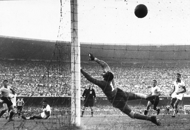 Uruguay's Alcides Ghiggia scores the famous goal that dealt host Brazil a 2-1 defeat in the final of the 1950 World Cup at the Maracana.