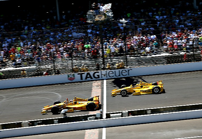 It was this close at the finish at Ryan Hunter-Reay edged Helio Castroneves for the win.
