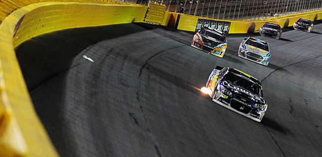 Winless coming in, Jimmie Johnson (leading) was hoping to get hot in the Coca-Cola 600.