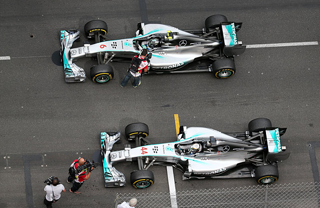 The intrigue in F1 now is if teammates Nico Rosberg (top) and Lewis Hamilton will come to blows.