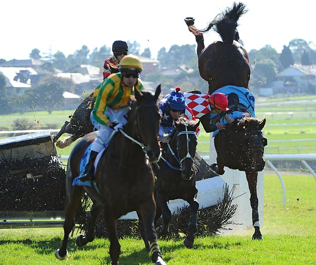 Jockey Martin Kelly came unglued from Show Dancer during the Follow@MRCTracknews on Twitter Steeplechase at Sandown Lakeside in Melbourne, Australia. Just as an aside, these chases would be even more exciting if the course contained actual church steeples.