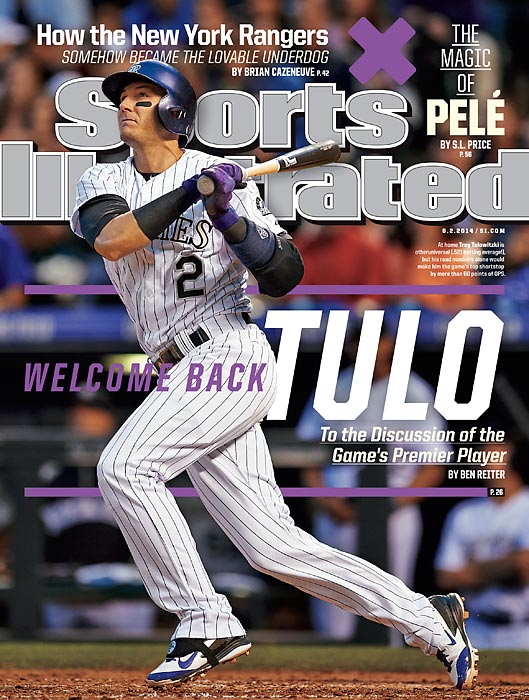 June 2, 2014  |  Troy Tulowitzki has been the best player in baseball through the first two months of the season, and that hot start has landed him a regional cover of Sports Illustrated. In this week's issue, staff writer Ben Reiter profiles the early National League MVP favorite, who has been tattooing the ball all season, especially in the friendly confines of Coors Field.