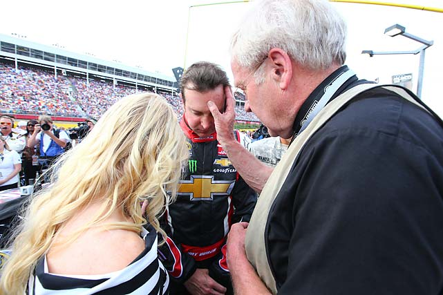 Father Grubba prays with Busch again, this time in Charlotte.