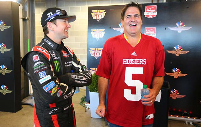 Busch jokes around with NBA owner Mark Cuban, who was on hand to wave the green flag to start the 98th running of the race.