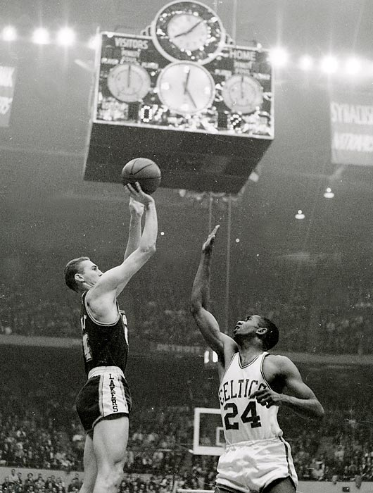 Jerry West of the Lakers elevates for a jumper in Game 7 against the Celtics. West scored 35 points, but Boston would win the game and the series.