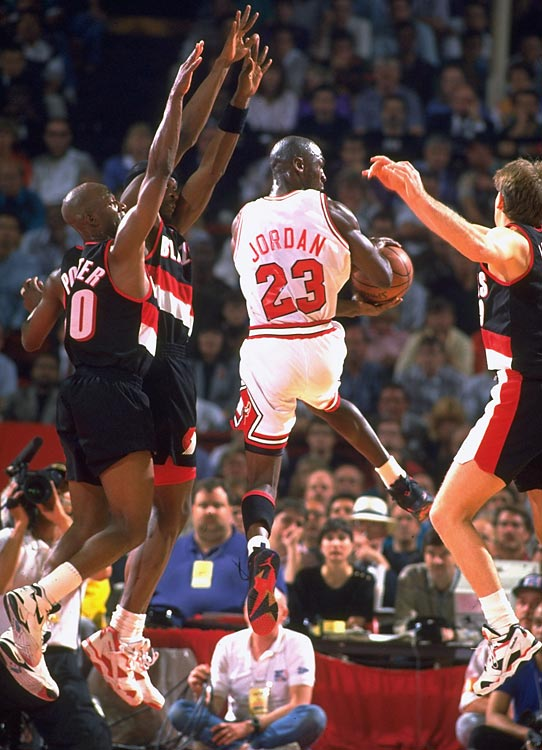 Michael Jordan and the Bulls appeared in their second Finals to face Clyde Drexler and the Portland Trail Blazers. The debate about who was better between MJ and Clyde was effectively silenced as Jordan hit six first-half threes in Game 1, famously shrugging at the broadcast table after hitting the sixth one. Jordan's dominance set the tone for the series.