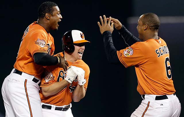 Steve Clevenger, in helmet, celebrates his game-winning double with teammates Adam Jones, left, and Jonathan Schoop after a May 10 game against the Houston Astros.