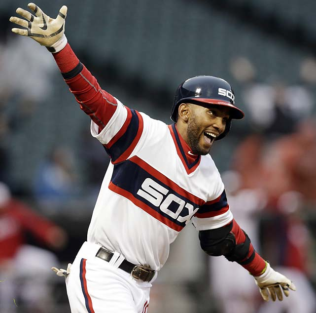 Alexei Ramirez celebrates as he rounds the bases after hitting the game-winning two-run home run during the ninth inning of an April 13 game against the Cleveland Indians.