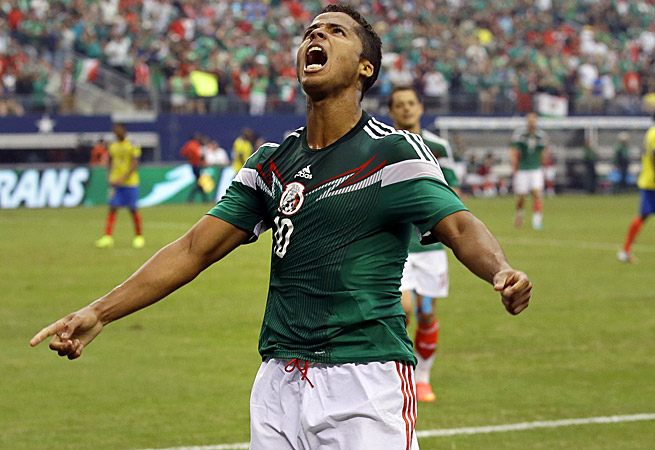 Mexico's Giovanni Dos Santos celebrates his goal vs. Ecuador in a pre-World Cup friendly in Texas.