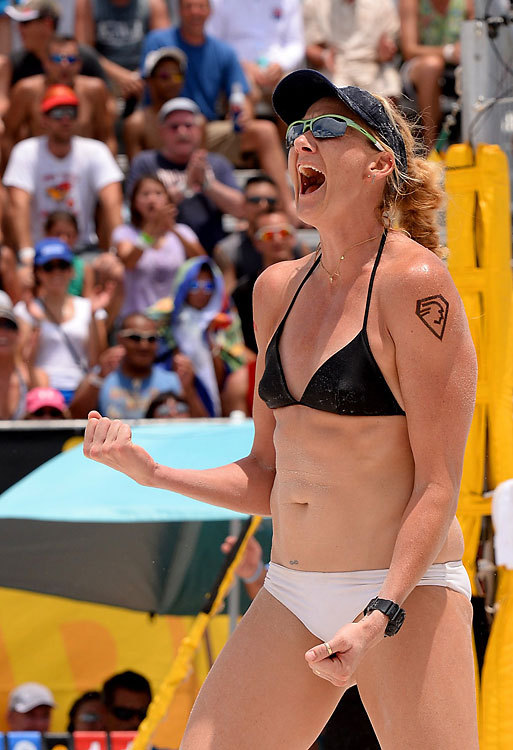 Kerri Walsh Jennings celebrates a point won.